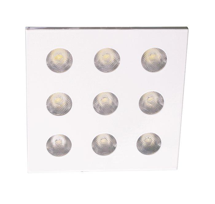 Lampenlux LED-Einbaustrahler Spot Rene eckig weiß 9-flammig 10.8x10.8 230V 18W rostfreiEinbauleuchte Einbaulampe Einbauspot Spot Strahler Punktstrahler Aluminium Downlight Down Deckeneinbaustrahler Deckeneinbauleuchte