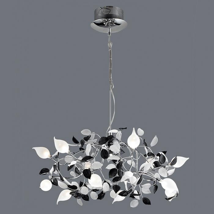 Lampenlux design Pendelleuchte Zanco Hängeleuchte Blatt Chrom Höhenverstellbar