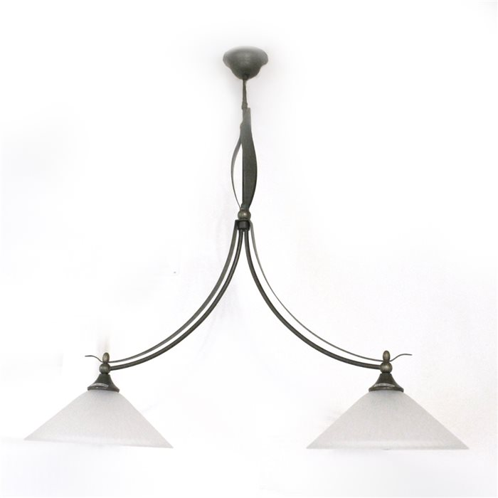 Lampenlux LED Pendelleuchte Zusa Hängeleuchte Landhaus Glas Rustikal Bronze Gold Antik