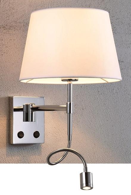 Lampenlux Wandlampe Pelorus Wandleuchte Ø 26 cm mit Lesearm inkl Trafo und Schalter Nickel gebürstet weiß 1x CREE LED 1x E27 60W
