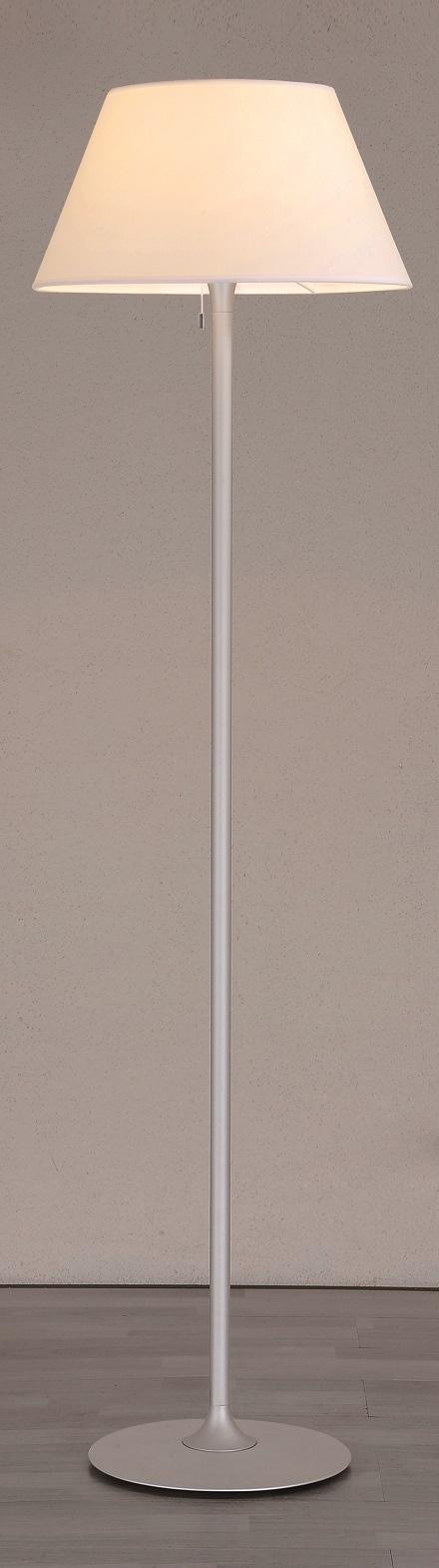 Lampenlux Stehlampe Leigal Stehleuchte Stoff Nickel Weiß Grau 165cm Ø 45 cm mit Zugschalter E27 40W
