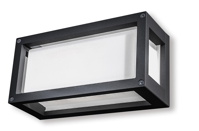 Lampenlux Außenleuchte Wandlampe Maria Milchglas Aluminium Schwarz 500lm 6W LED 3000K IP54