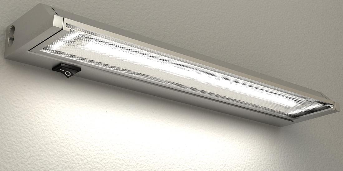 Lampenlux LED Unterbauleuchte Ajax Unterbaulampe Küchenlampe Küchenleuchte Aufbauleuchte Aufbaulampe Schwenkbar Silber Stromkabel 60cm