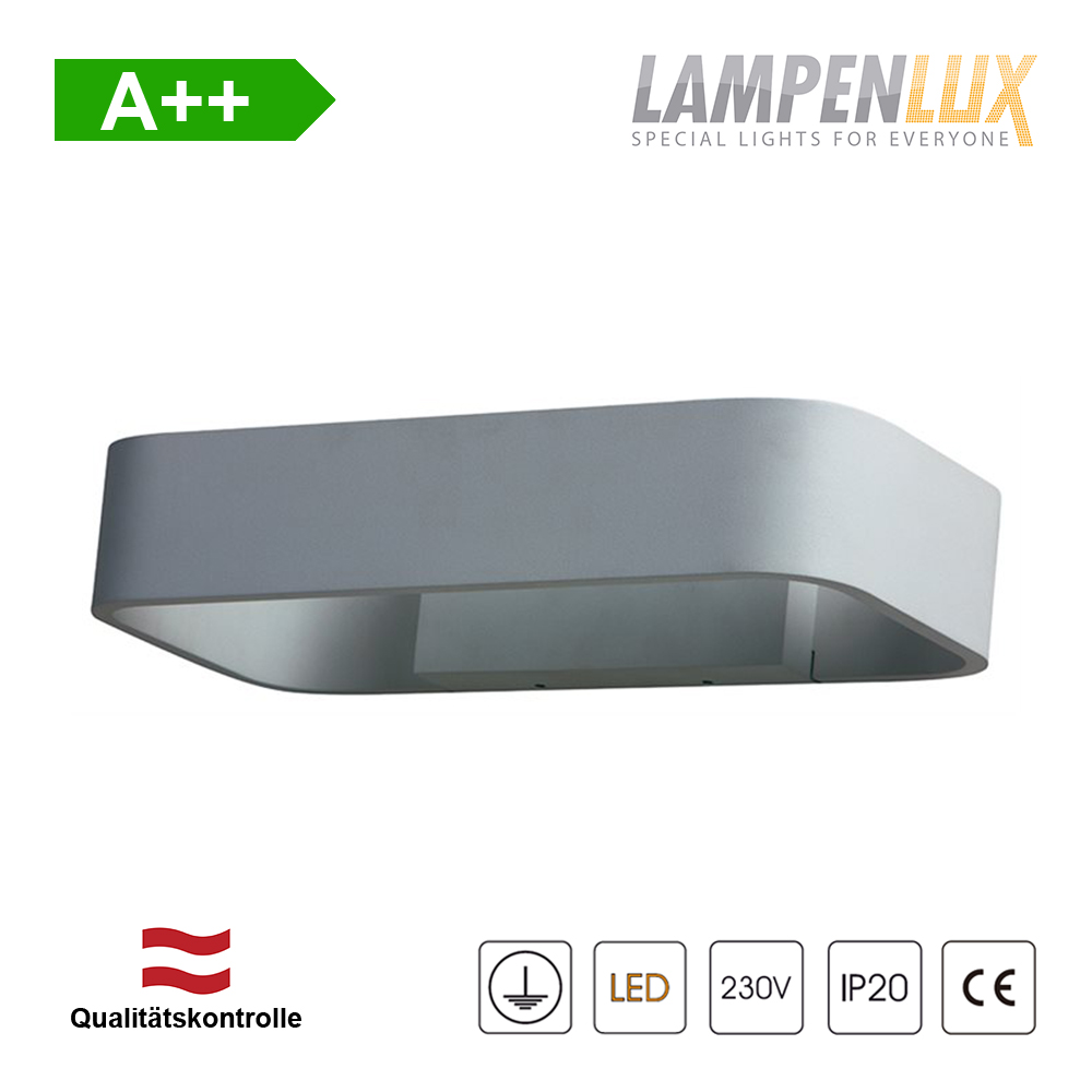 Lampenlux LED Wandlampe Gallus Up-/Downlight Grau 5,4W IP54 Aluminium