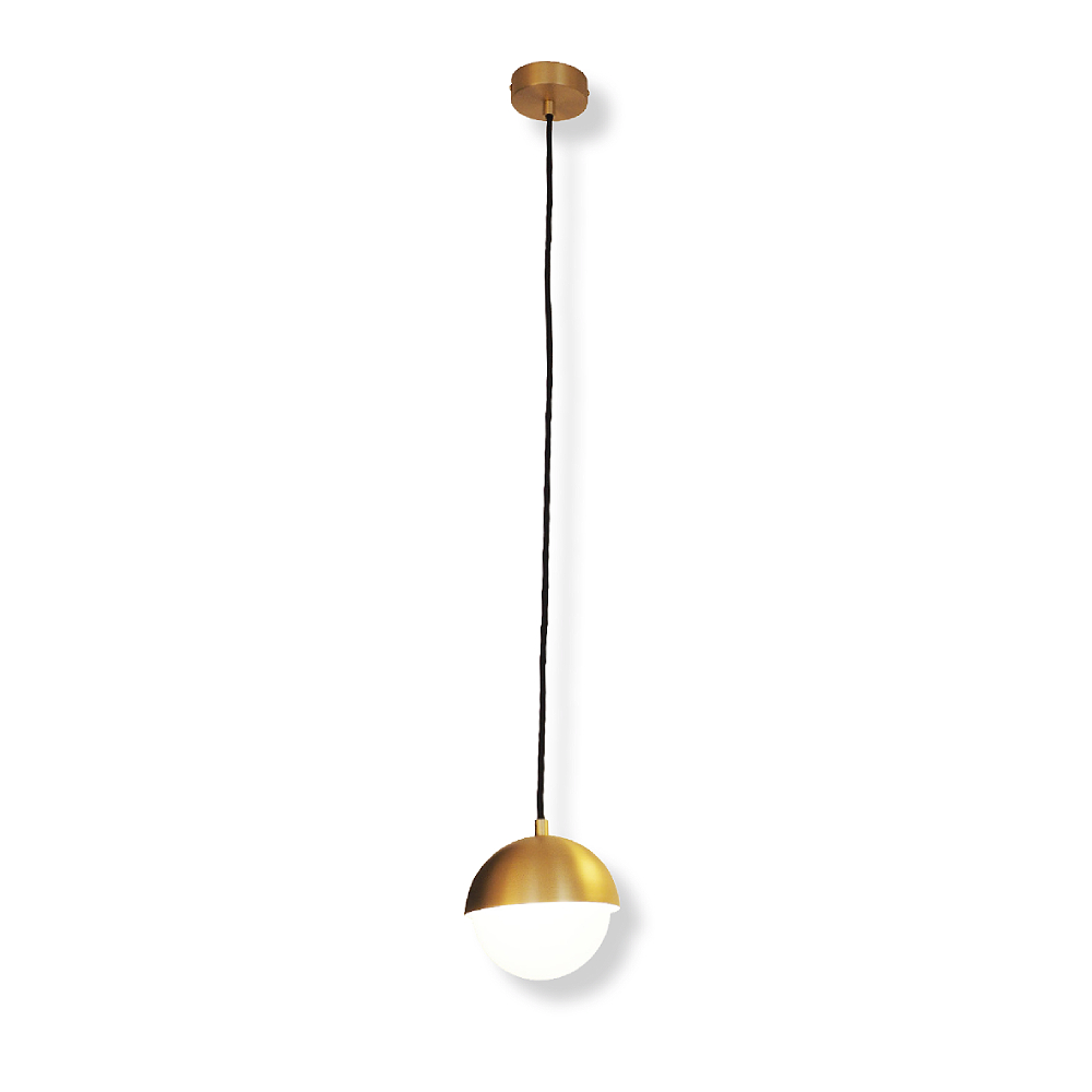Lampenlux LED Hängeleuchte Kyra Kugelleuchte Opalglas Metall mit Stoffkabel 5W Ø140mm