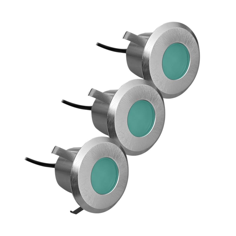 Lampenlux 3er Set LED Bodeneinbaustrahler Außenleuchte Terrasse Bodenlampe IP54 Spritzwasserfest 230V 0,8W Warmweiß