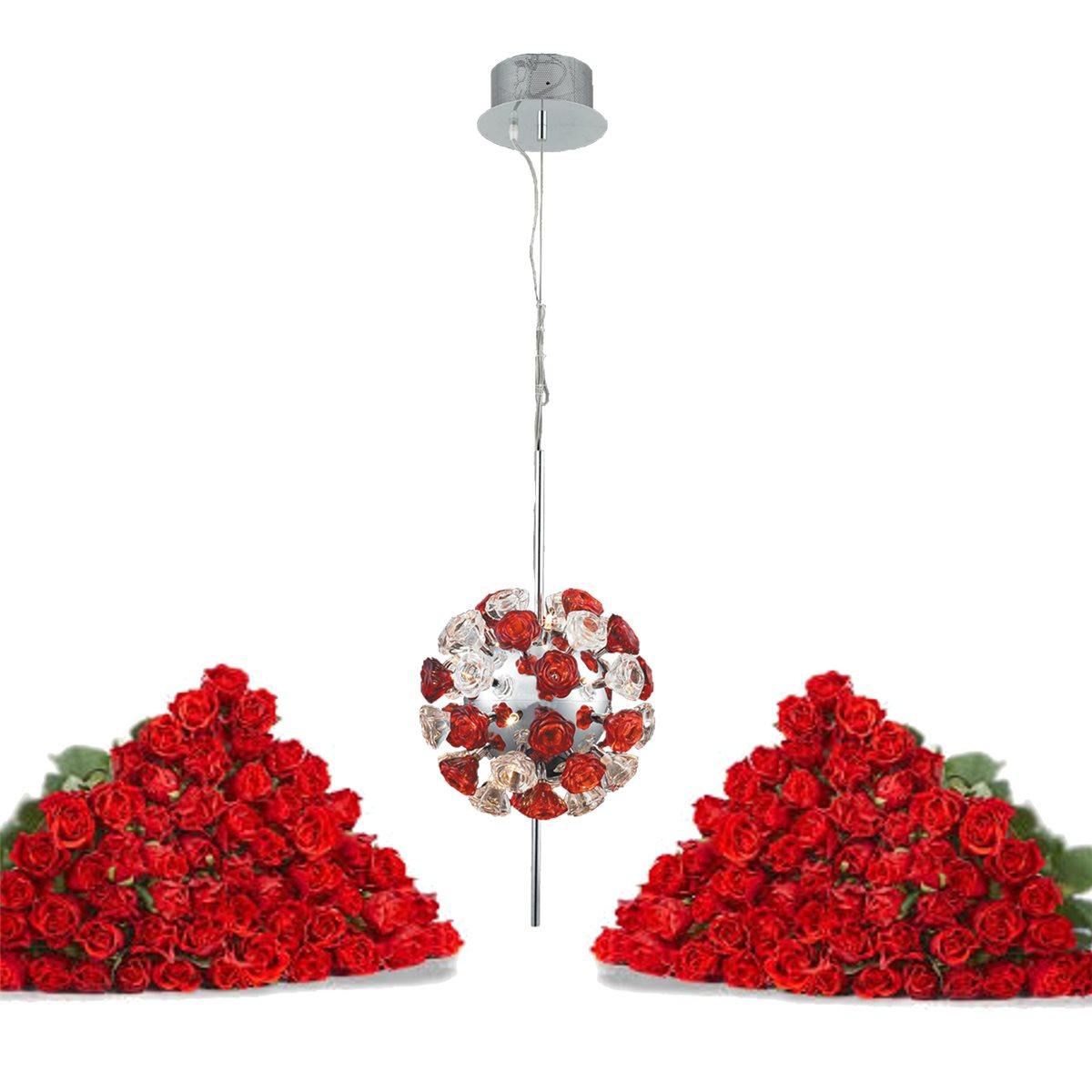 Lampenlux Designer Pendelleuchte Hängeleuchte Rosonas Glas Rosen Modern