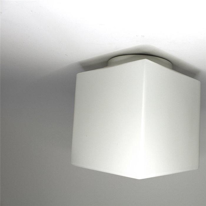 Lampenlux LED Aussenleuchte Danny 230V Deckenlampe Deckenleuchte Fassung E27 Badlampe Würfel Glas Weiß Terasse