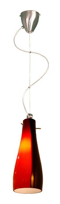 Lampenlux Pendellampe Pendelleuchte Benito Glasschirm Schwarz und Rot E27 einflammig