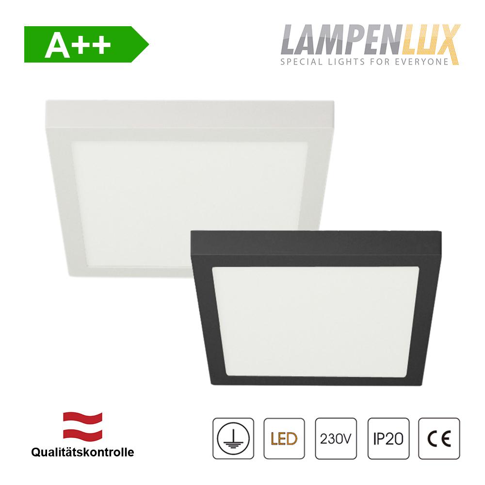 Lampenlux LED Aufbauleuchte Lumina Deckenlampe Warmweiß eckig 12cm Weiß