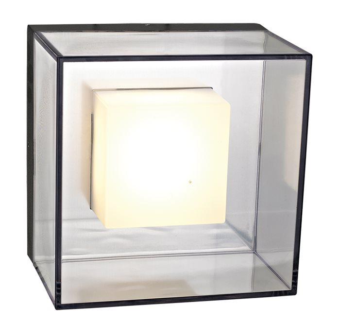 Lampenlux LED Außenwandleuchte Agor Warmweiß Wandlampe Ø14cm IP44 Schwarz Eckig Außenlampe Außenleuchte