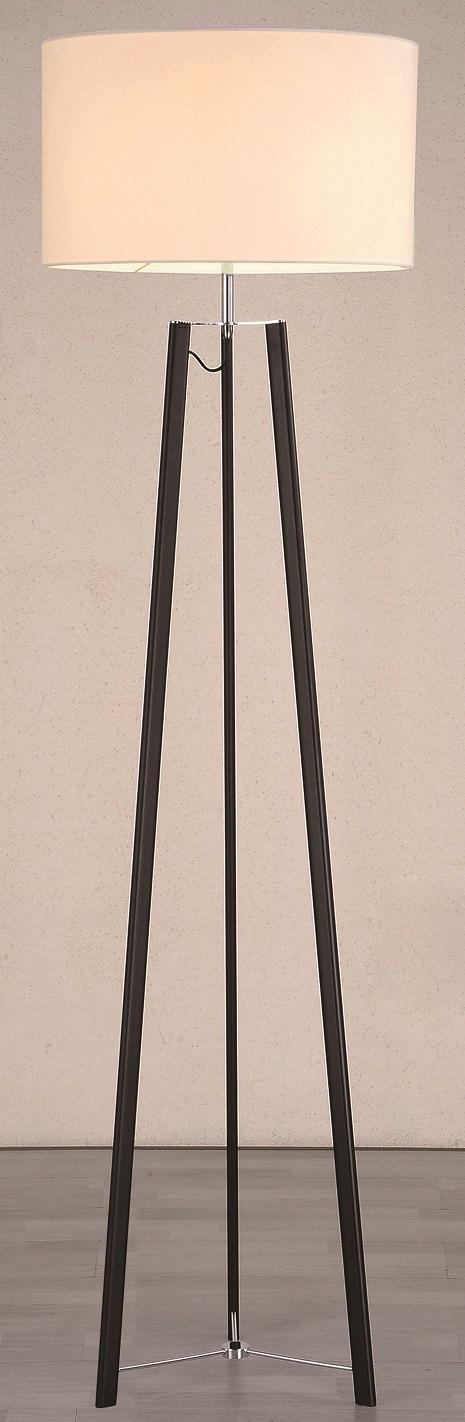 Lampenlux Stehlampe Litmas Stehleuchte Stoff Nickel Weiß 165cm Ø 45 cm E27 60W