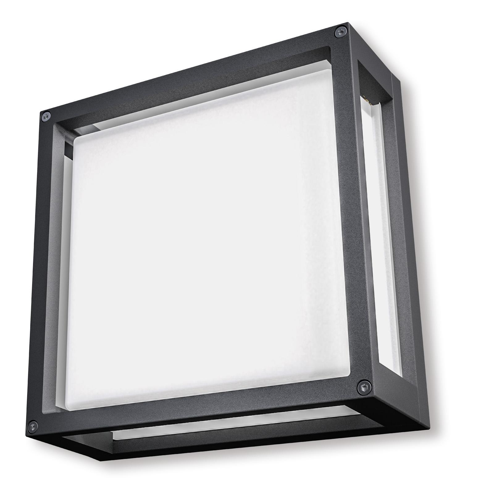 Lampenlux Außenleuchte Sesto Milchglas Aluminium Schwarz 800lm 9W LED 3000K IP54