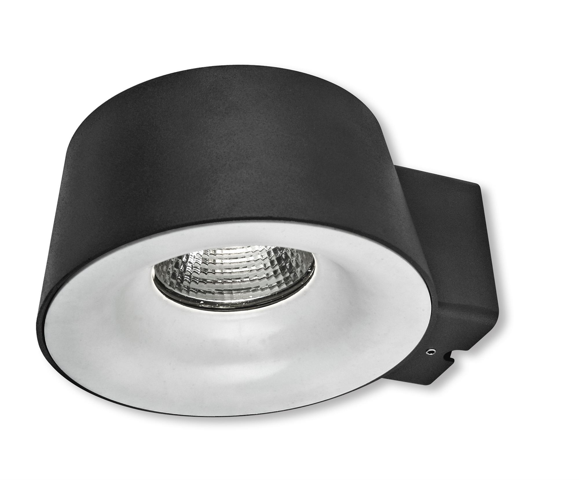 Lampenlux Außenleuchte Sean Aluminium Schwarz 850lm 10W LED 3000K IP54 Ø18.5cm