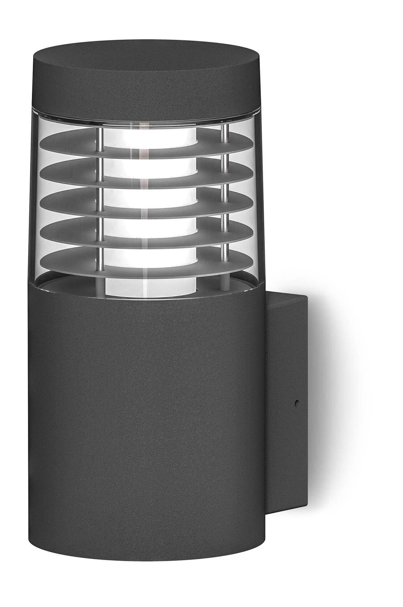 Lampenlux Außenleuchte Wandlampe Leonela Aluminium Schwarz 600lm 8W LED 3000K IP54