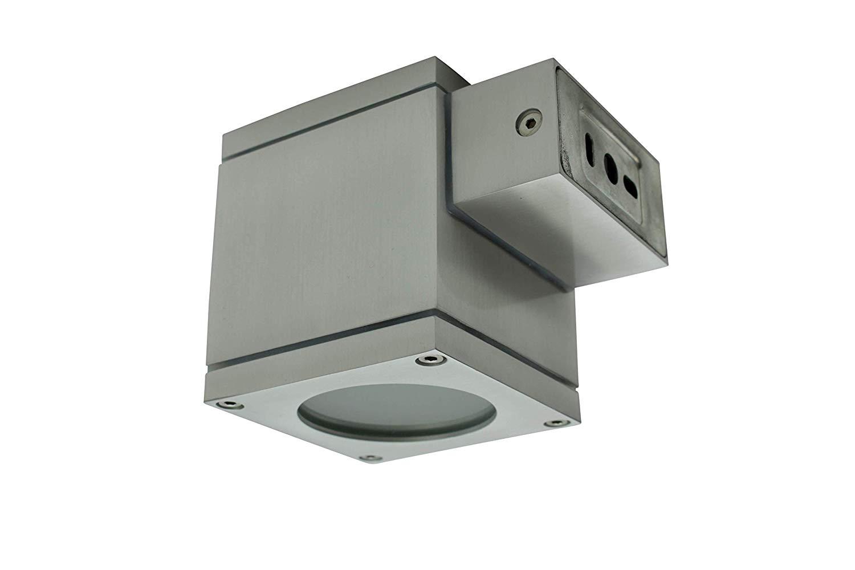 Lampenlux LED Aussenleuchte Elton Up Down Light IP65 GU10 Eckig Silber aus Aluminium