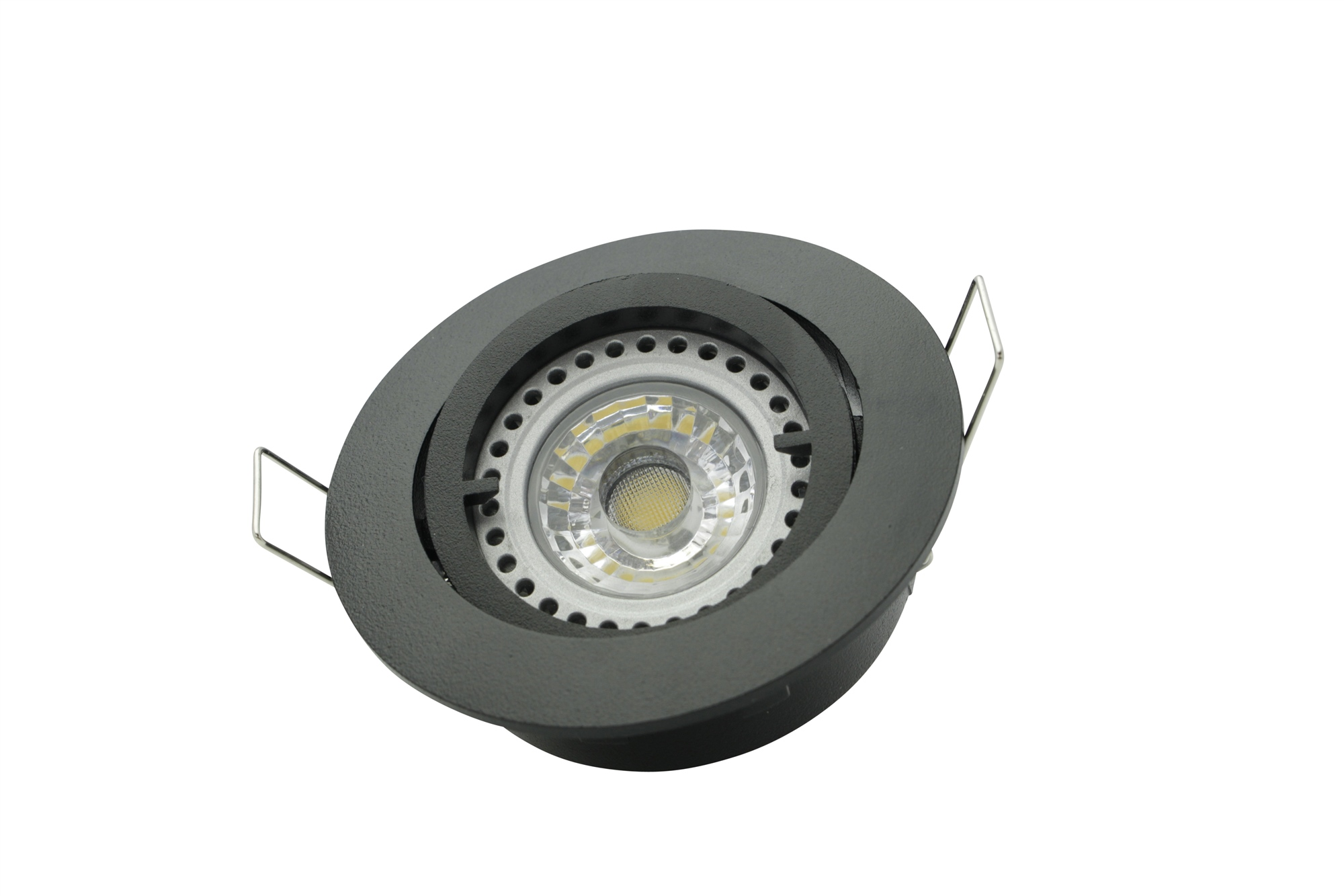 Lampenlux Einbaustrahler Samila Spot rund schwenkbar schwarz MR16 12V Aluminium