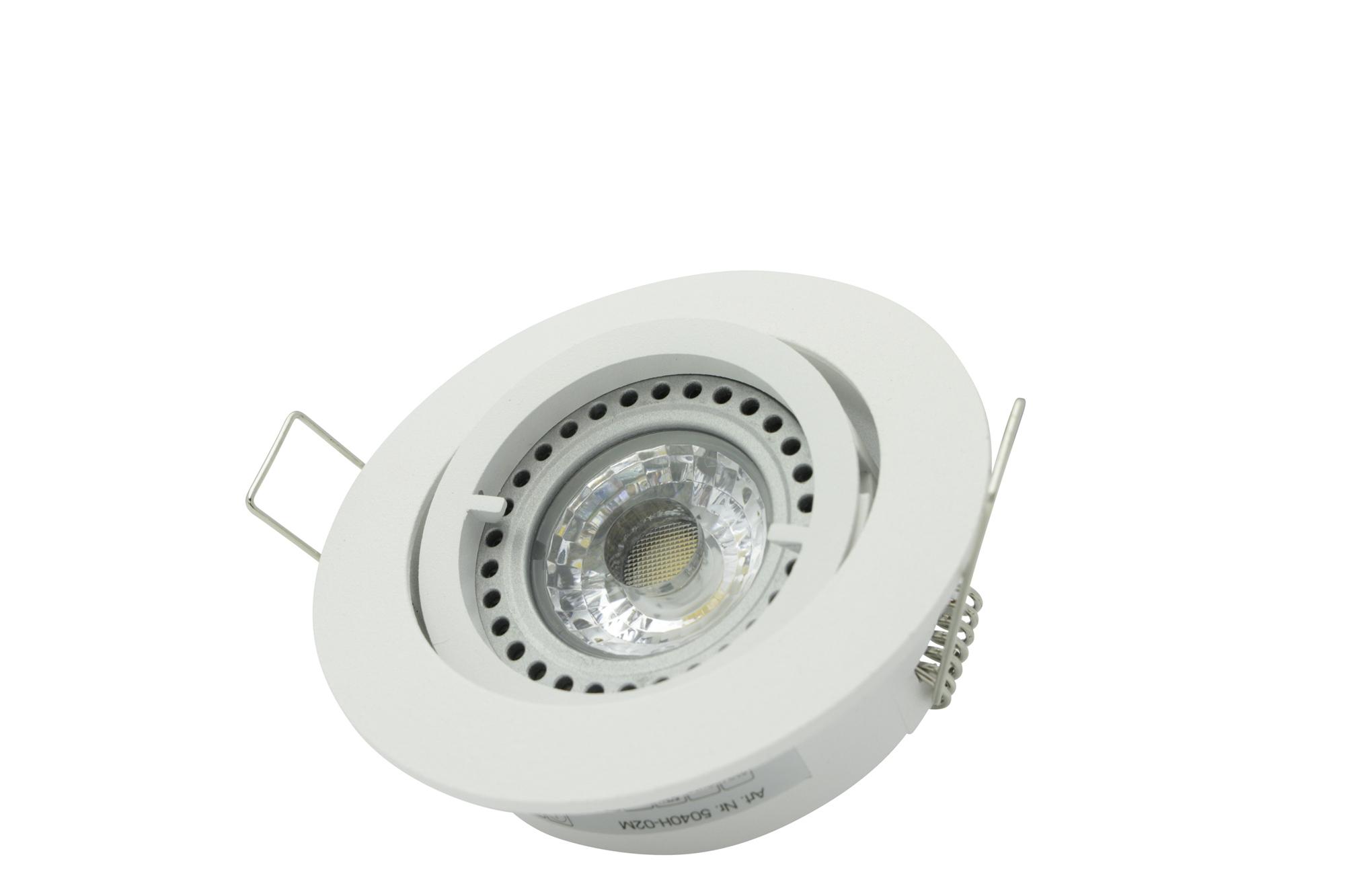 Lampenlux Einbaustrahler Samila Spot rund schwenkbar weiß MR16 12V Aluminium