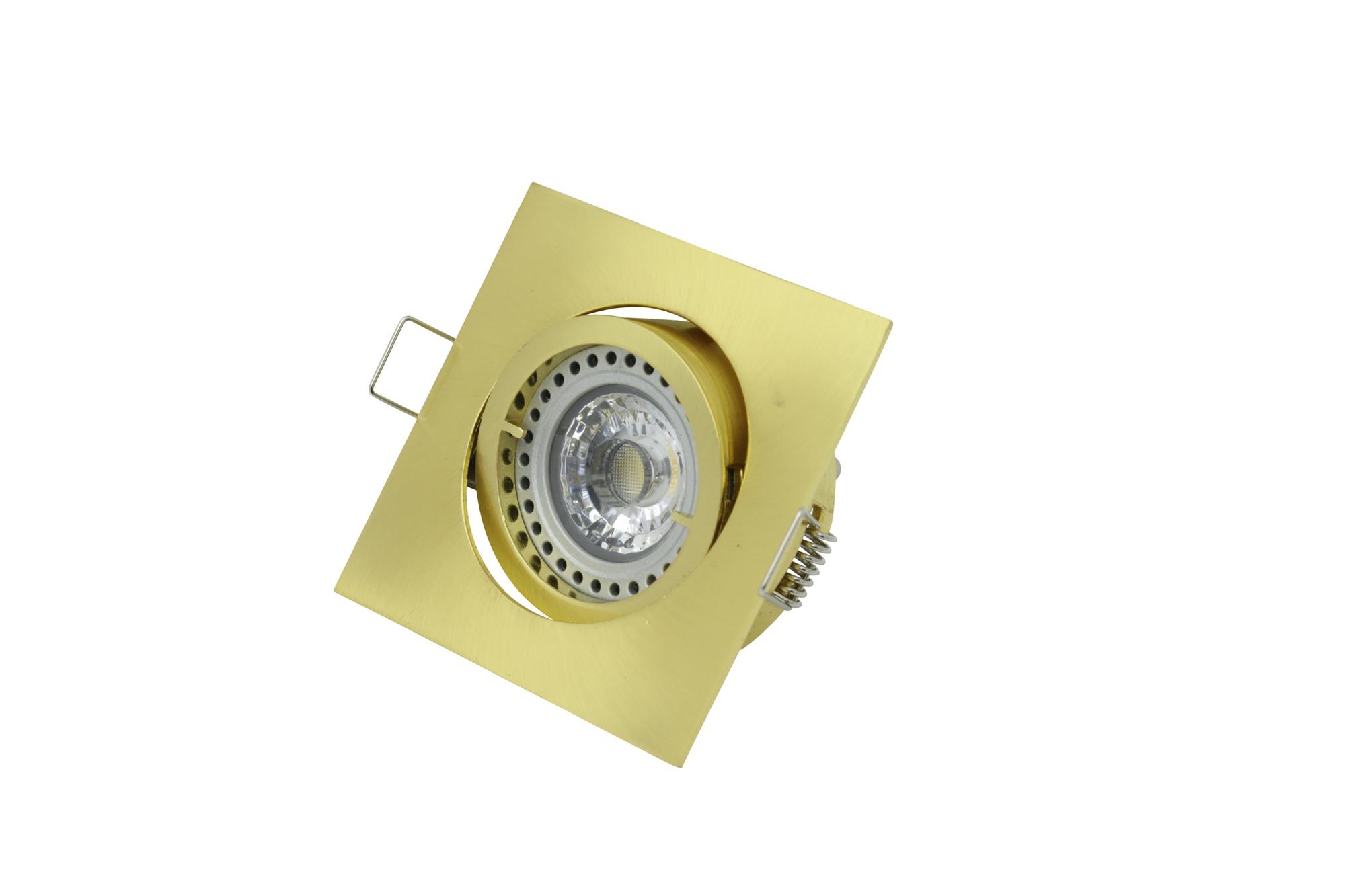 Lampenlux LED-Einbaustrahler Spot Snap eckig gold schwenkbar 8.2x8.2cm 12V MR16 rostfrei Aluminium