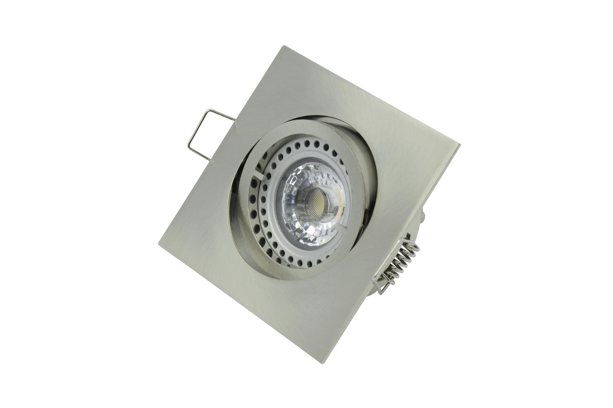 Lampenlux Einbaustrahler Spot Snap eckig Nickel gebürstet schwenkbar 8.2x8.2cm 12V rostfrei Aluminium