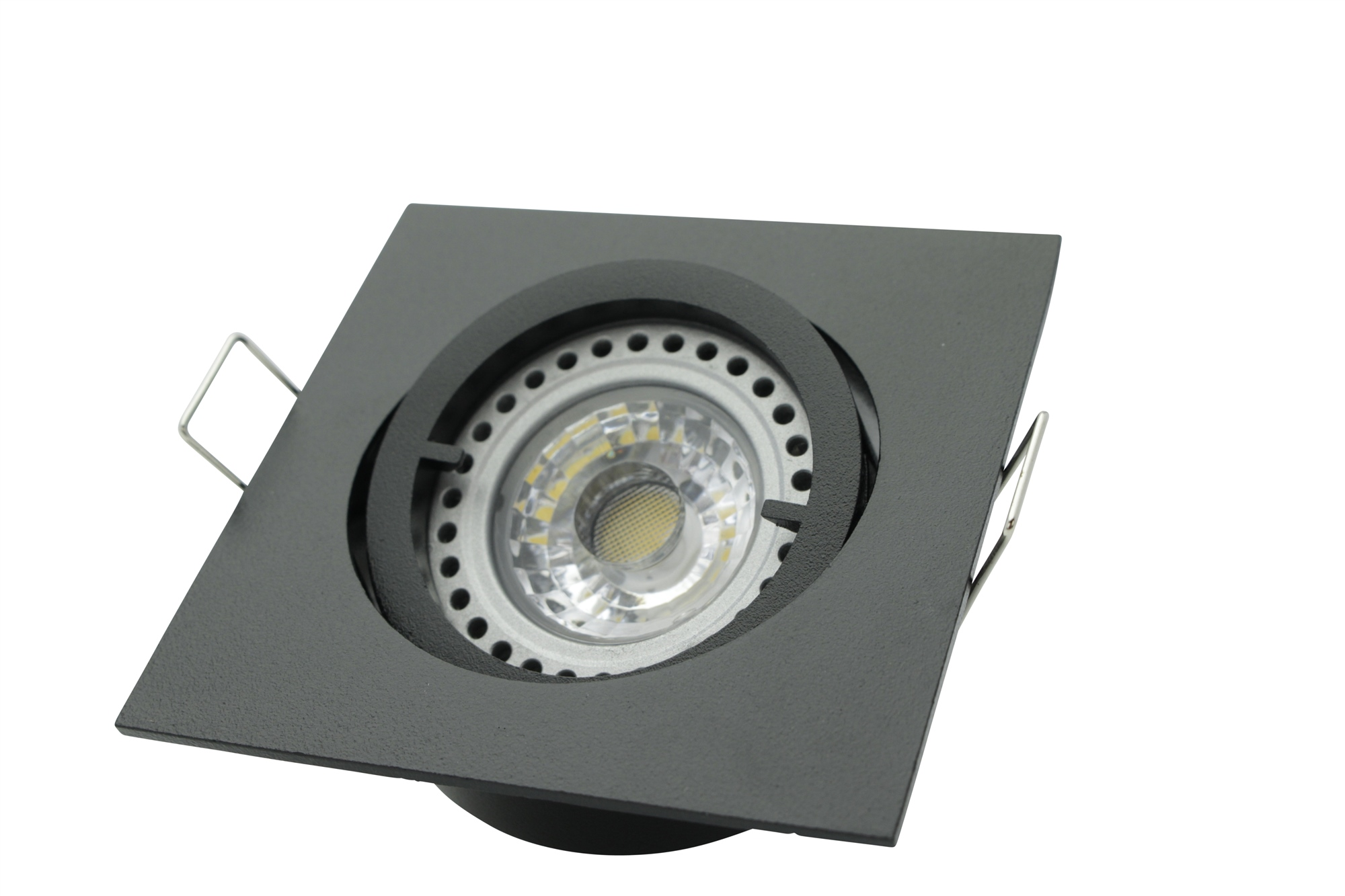 Lampenlux Einbaustrahler Spot Snap eckig schwarz schwenkbar 8.2x8.2cm 230V rostfrei Aluminium