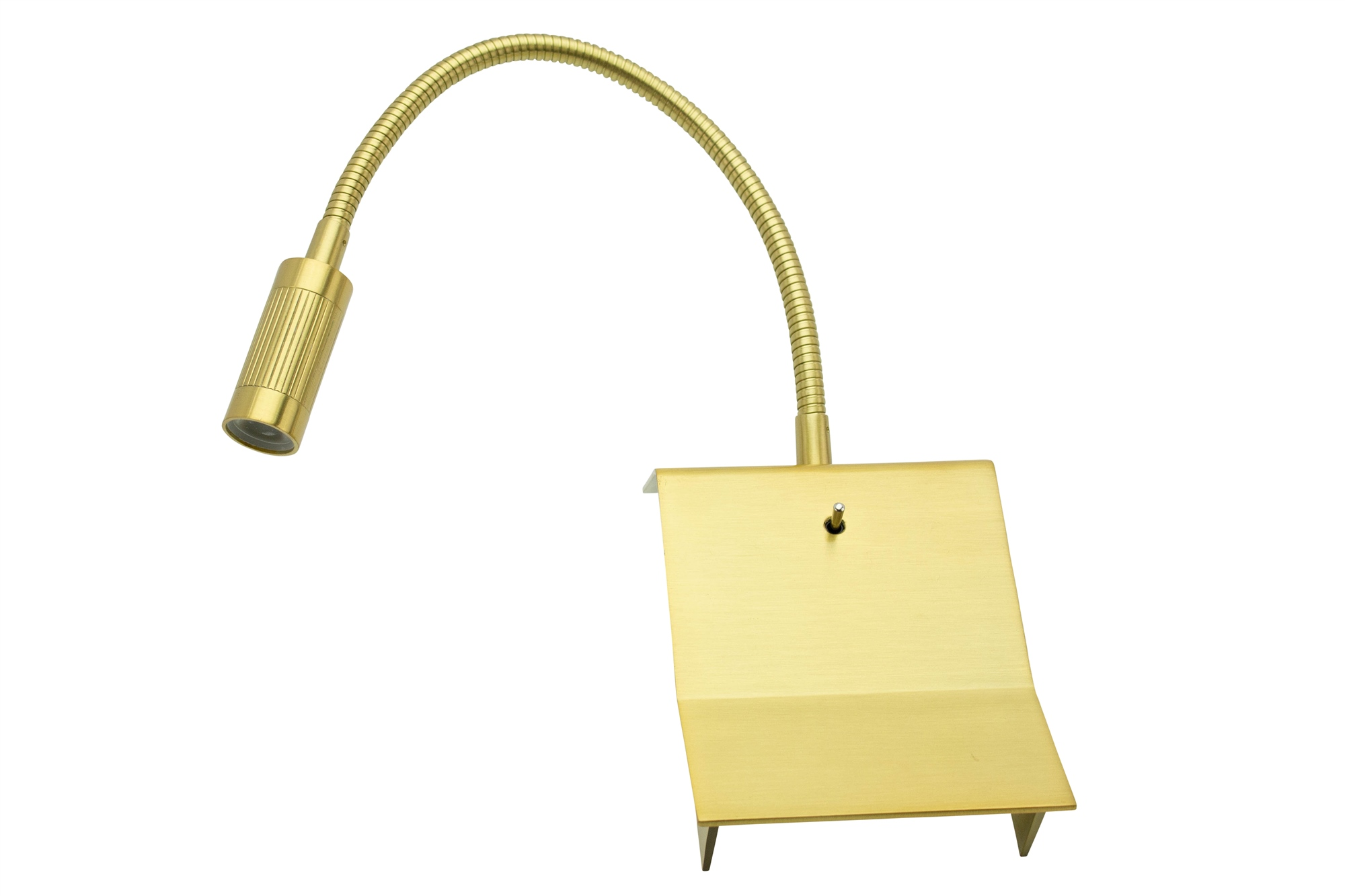 Lampenlux LED Wandlampe Wandleuchte Uno Leselampe Leseleuchte Downlight Schalter Schwanenhals Flexiarm Bettleuchte Bettlampe Gold