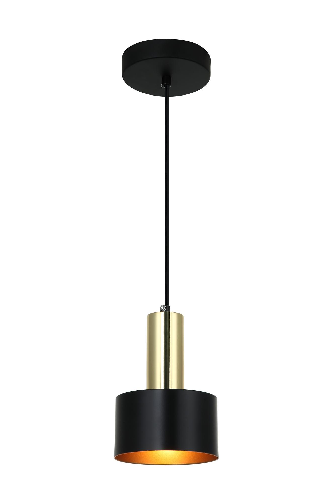 Lampenlux Pendellampe Dalia Hängeleuchte 40W E27 Schwarz / Gold