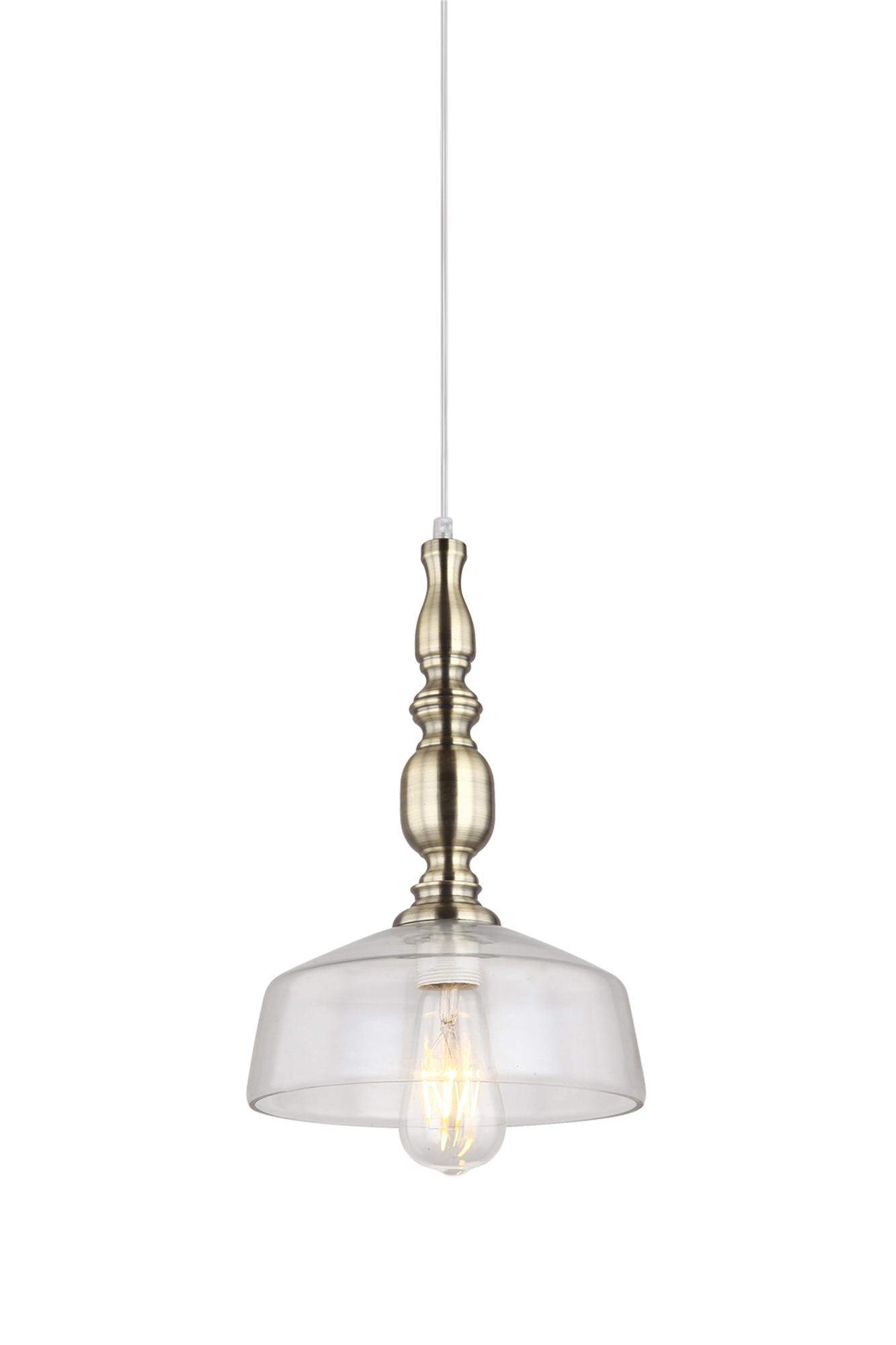 Lampenlux Pendelleuchte Mavis Vintage Hängelampe 40W Glasschirm