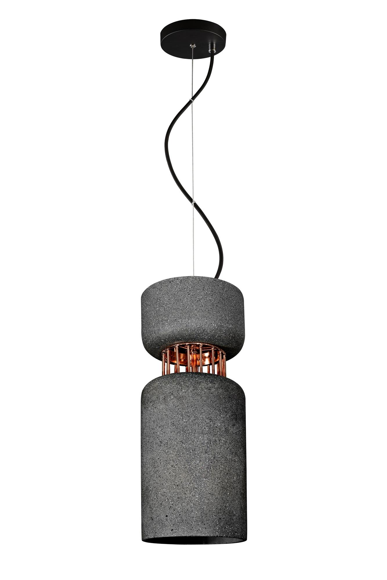 Lampenlux Hängeleuchte Joe Pendellampe 40W E27 Ø16cm Gipsleuchte Schwarz