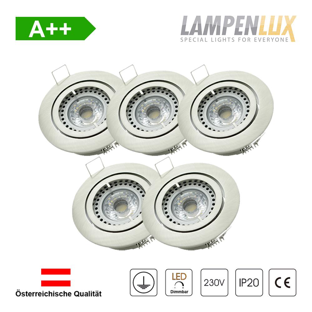 Lampenlux LED Einbaustrahler schwenkbar ultra flach Deckeneinbaustrahler Spot dimmbar Warmweiß 3000K IP20 (Nickel gebürstet, 5er Set)