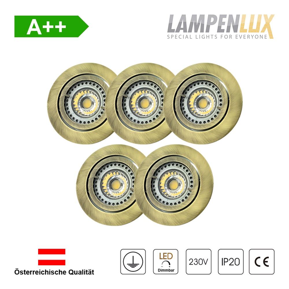 Lampenlux LED Einbaustrahler schwenkbar ultra flach Deckeneinbaustrahler Spot dimmbar Warmweiß 3000K IP20 (Messing antik, 5er Set)