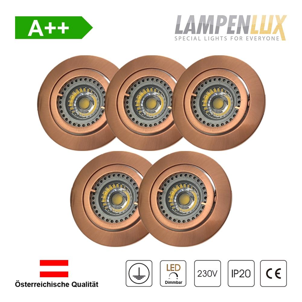 Lampenlux LED Einbaustrahler schwenkbar ultra flach Deckeneinbaustrahler Spot dimmbar Warmweiß 3000K IP20 (Kupfer antik, 5er Set)