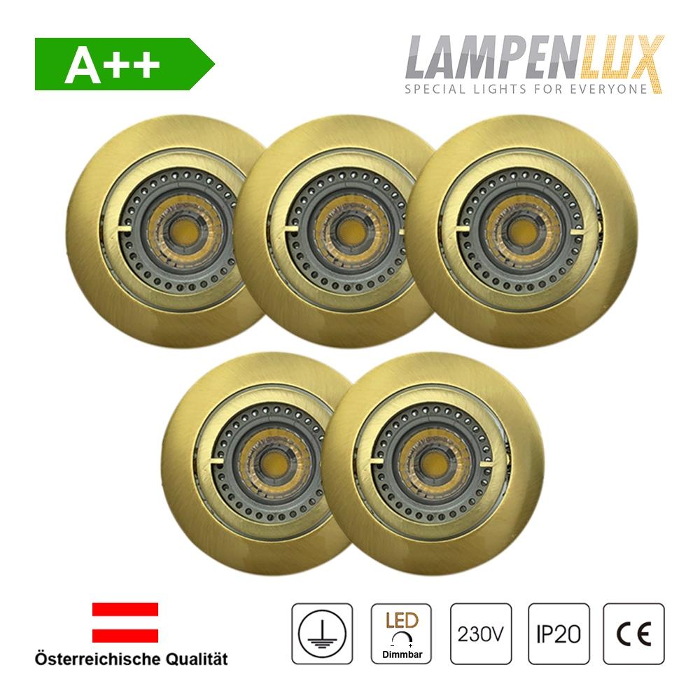 Lampenlux LED Einbaustrahler schwenkbar ultra flach Deckeneinbaustrahler Spot dimmbar Warmweiß 3000K IP20 (Gold gebürstet, 5er Set)