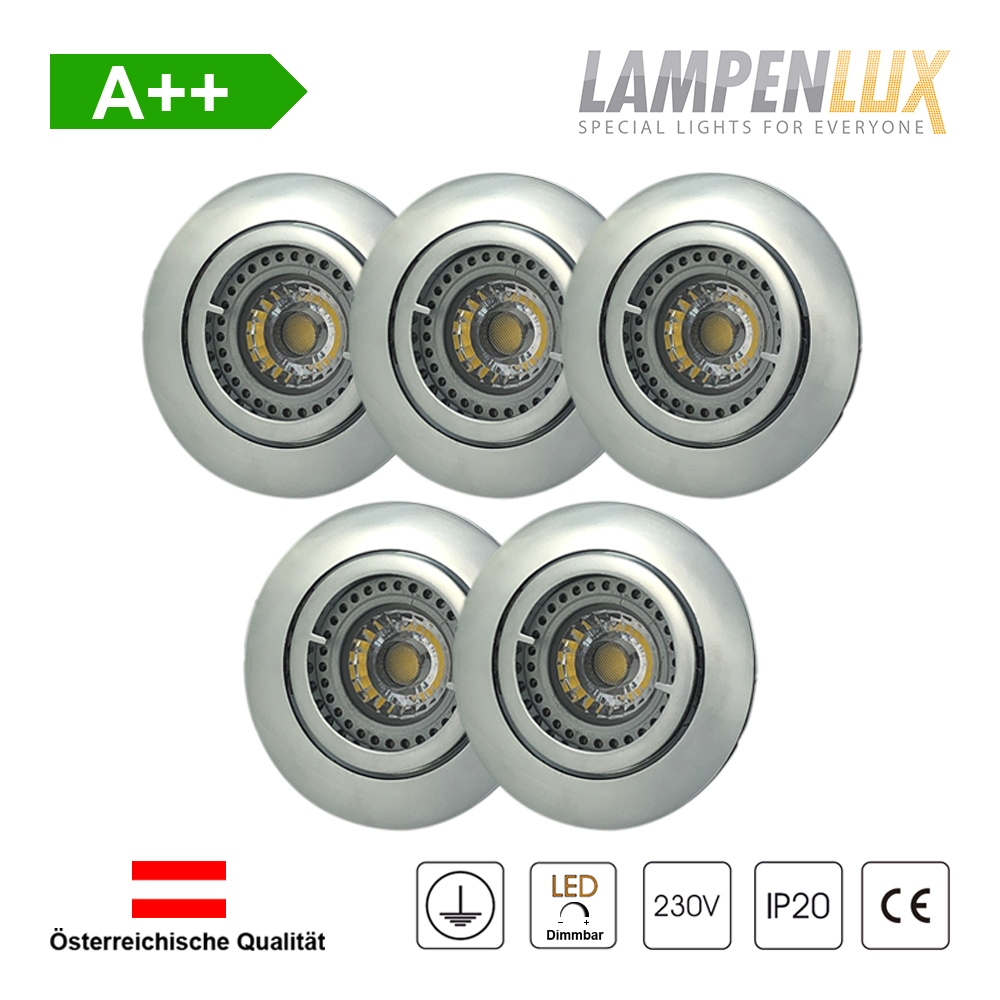 Lampenlux LED Einbaustrahler schwenkbar ultra flach Deckeneinbaustrahler Spot dimmbar Warmweiß 3000K IP20 (Chrom glänzend, 5er Set)