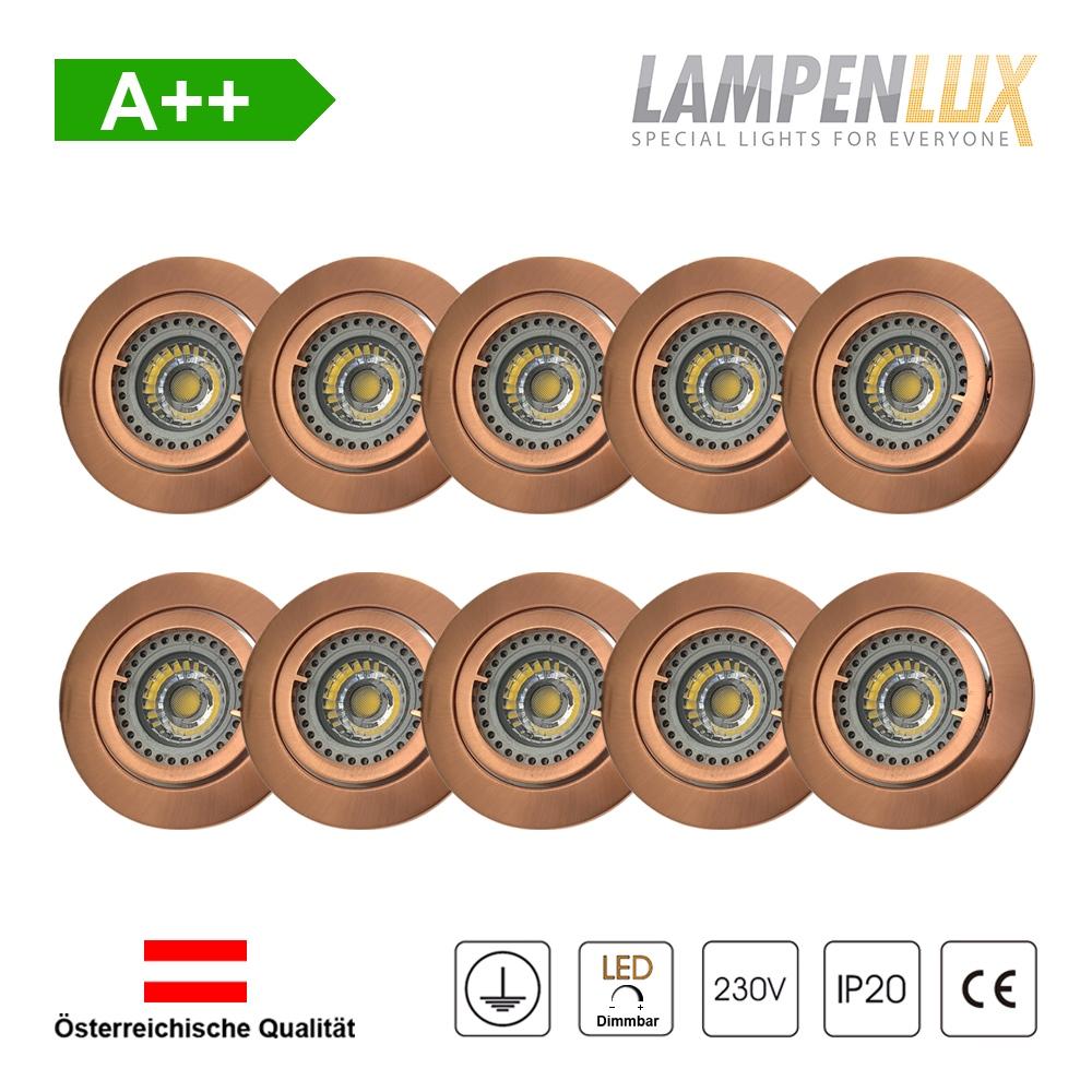 Lampenlux LED Einbaustrahler schwenkbar ultra flach Deckeneinbaustrahler Spot dimmbar Warmweiß 3000K IP20 (Kupfer antik, 10er Set)