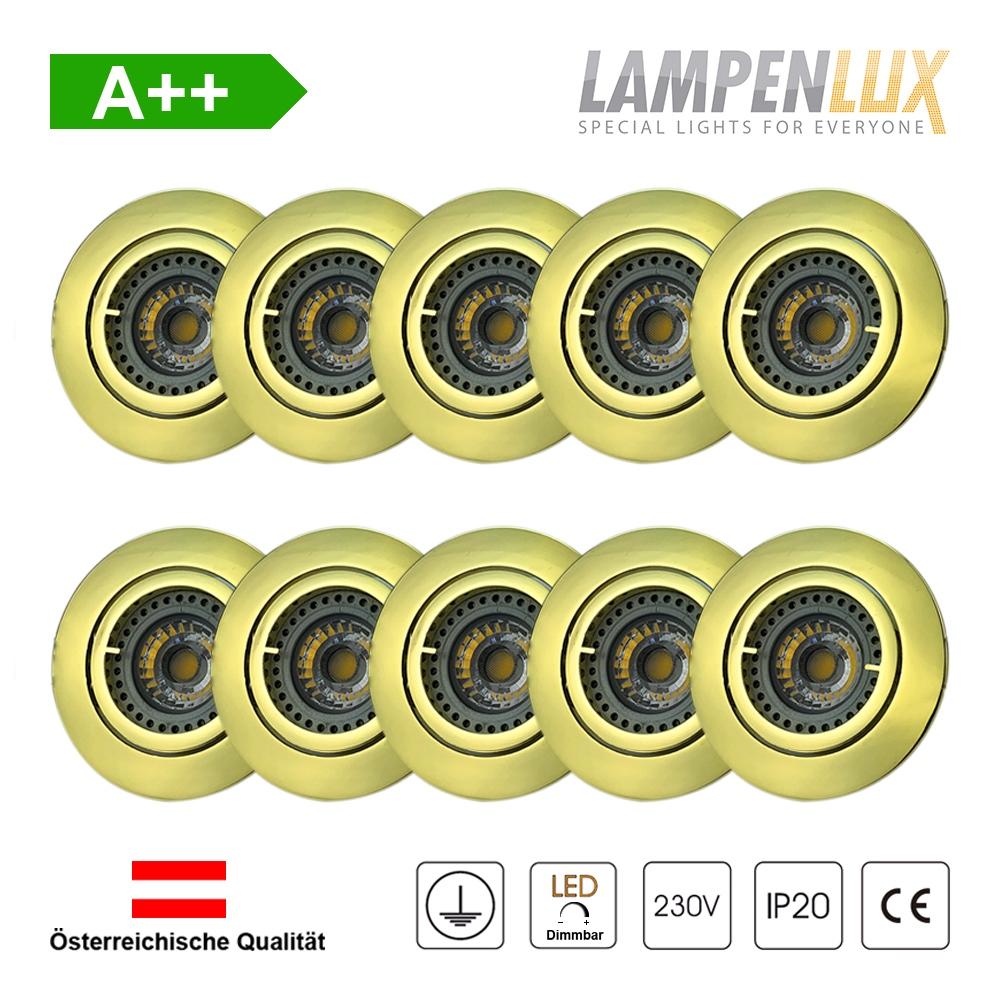 Lampenlux LED Einbaustrahler schwenkbar ultra flach Deckeneinbaustrahler Spot dimmbar Warmweiß 3000K IP20 (Gold glänzend, 10er Set)