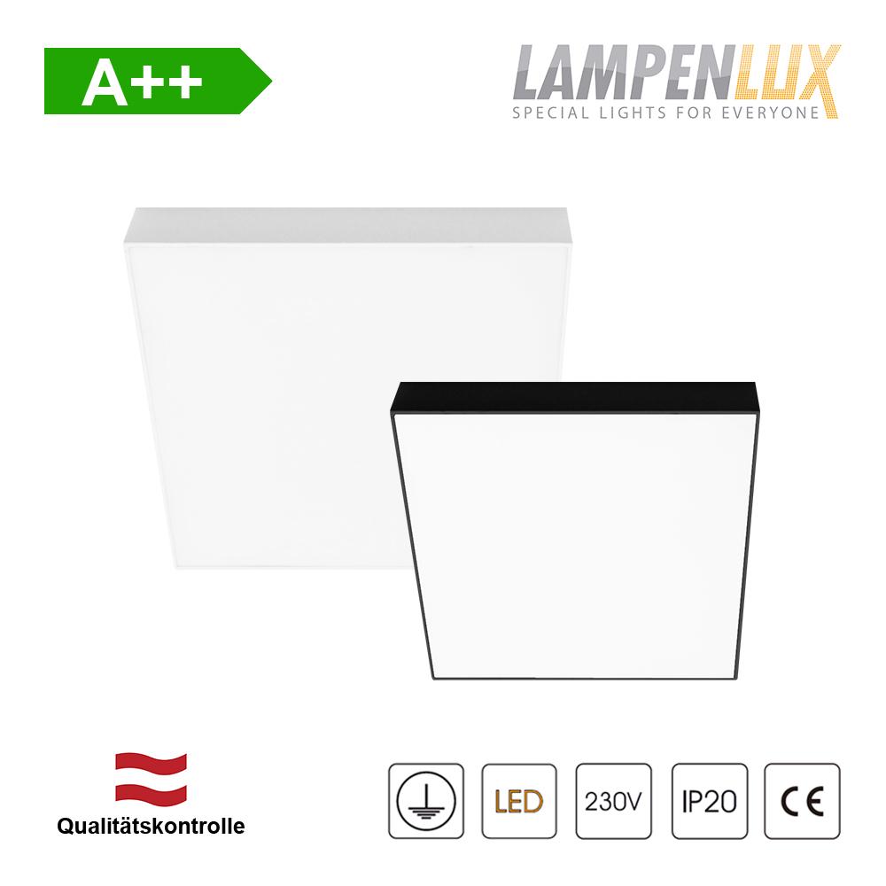 Lampenlux LED Aufbauleuchte 16W-48W Super Slim Rahmenlos IP20 mit Trafo 230V 12cm-40cm Weiß/Schwarz