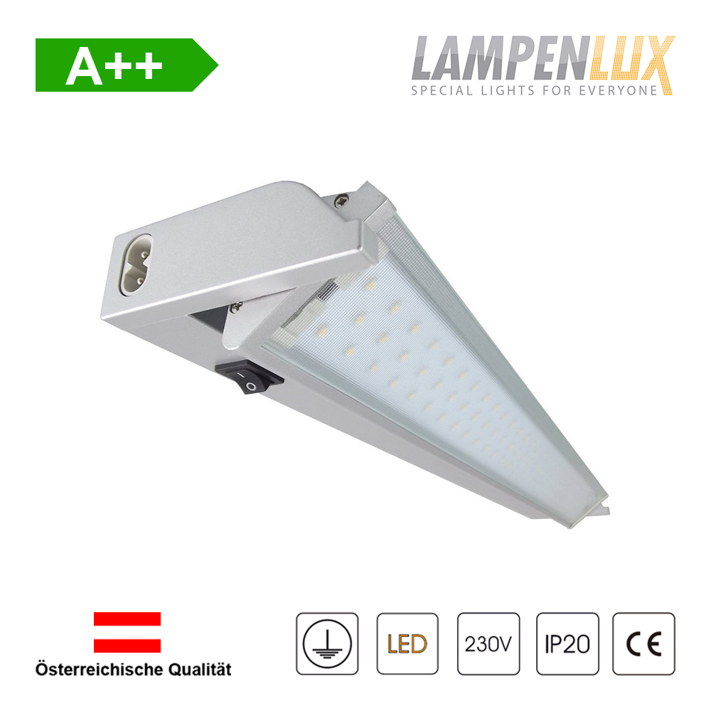 Lampenlux LED Unterbauleuchte Ajax Unterbaulampe Silber 230V 60/90cm