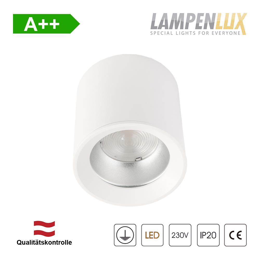 Lampenlux LED Aufbaulampe Jean Deckenlampe Aufbau aus Aluminium 20W 1600 Lumen Rund Weiß