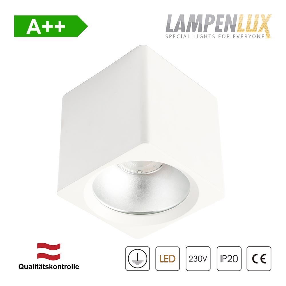 Lampenlux LED Aufbaulampe Jean Deckenlampe Aufbau aus Aluminium 20W 1600 Lumen Eckig Weiß