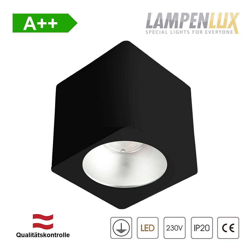 Lampenlux LED Aufbaulampe Jean Deckenlampe Aufbau aus Aluminium 20W 1600 Lumen Eckig Schwarz