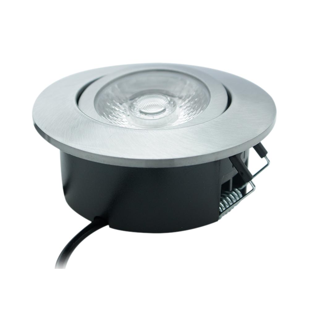 Lampenlux LED schwenkbarer Einbaustrahler Admon runder flacher LED Spot 38mm Tiefe 6W 3000K 230V IP44