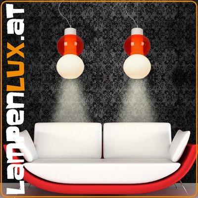 Lampenlux LED Pendellampe Hängeleuchte Zar Glasschirm zwei färbig rot weiß 230V E27