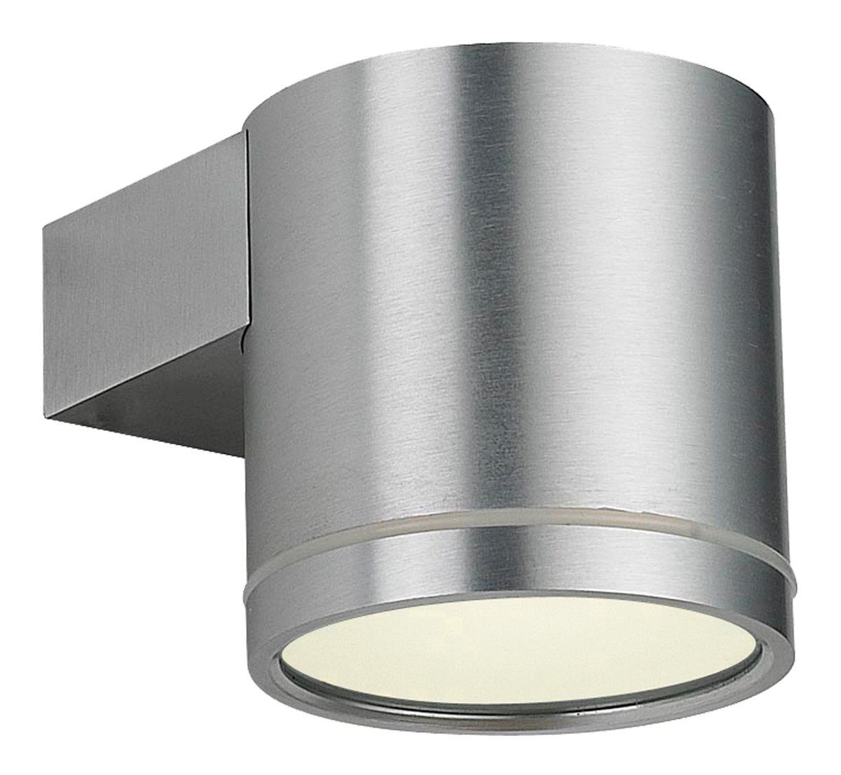 Lampenlux LED Außenleuchte Karim Außenlampe Wandlampe Wandleuchte Down Light 3 Größen IP54 GU10 Rund Silber Tür Aluminium