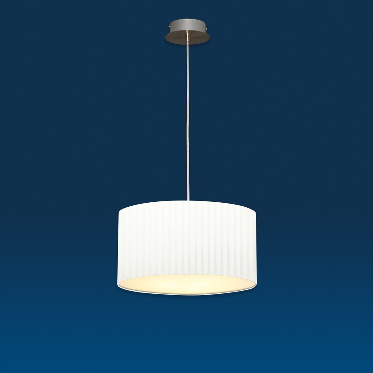 Lampenlux Pendelleuchte Nero Lamitex Weiß Hängeleuchte Bauhaus Höhenverstellbar Nickel Satiniert Lichtdurchlässige Folie Robust Hängelampe Pendellampe Ø45cm