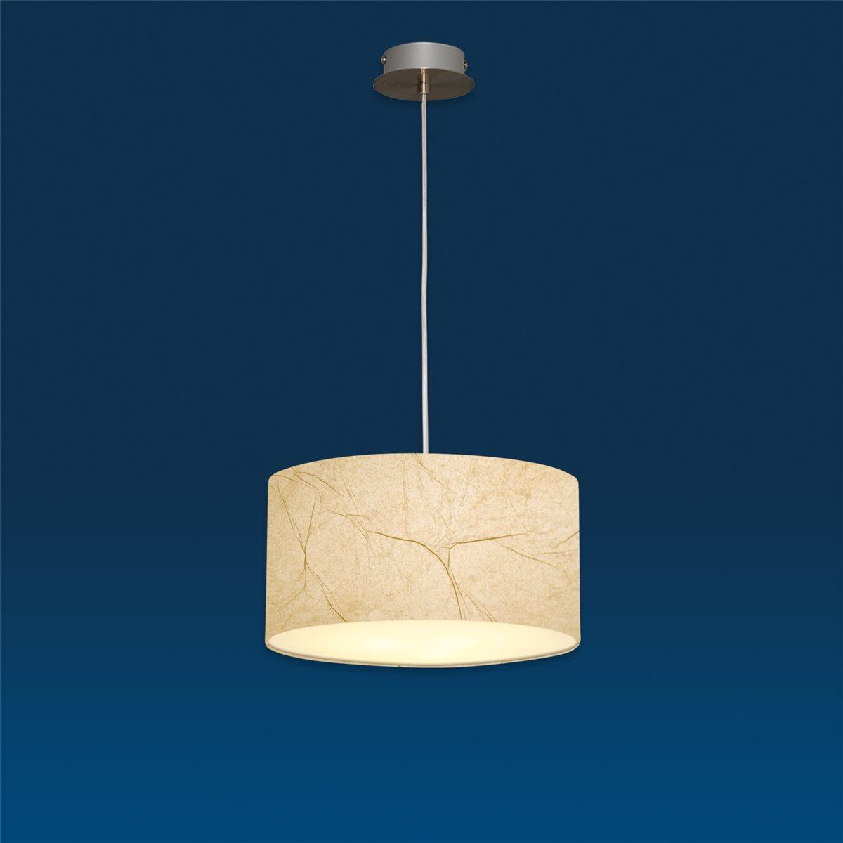 Lampenlux Pendelleuchte Nero Pergameno Beige Hängeleuchte Bauhaus Höhenverstellbar Nickel Satiniert Lichtdurchlässige Folie Robust Hängelampe Pendellampe Ø45cm