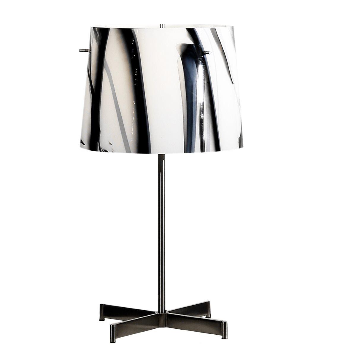 Lampenlux Tischlampe Georg Nachttischlampe Bettleuchte Deko Glas Schwarz Weiß