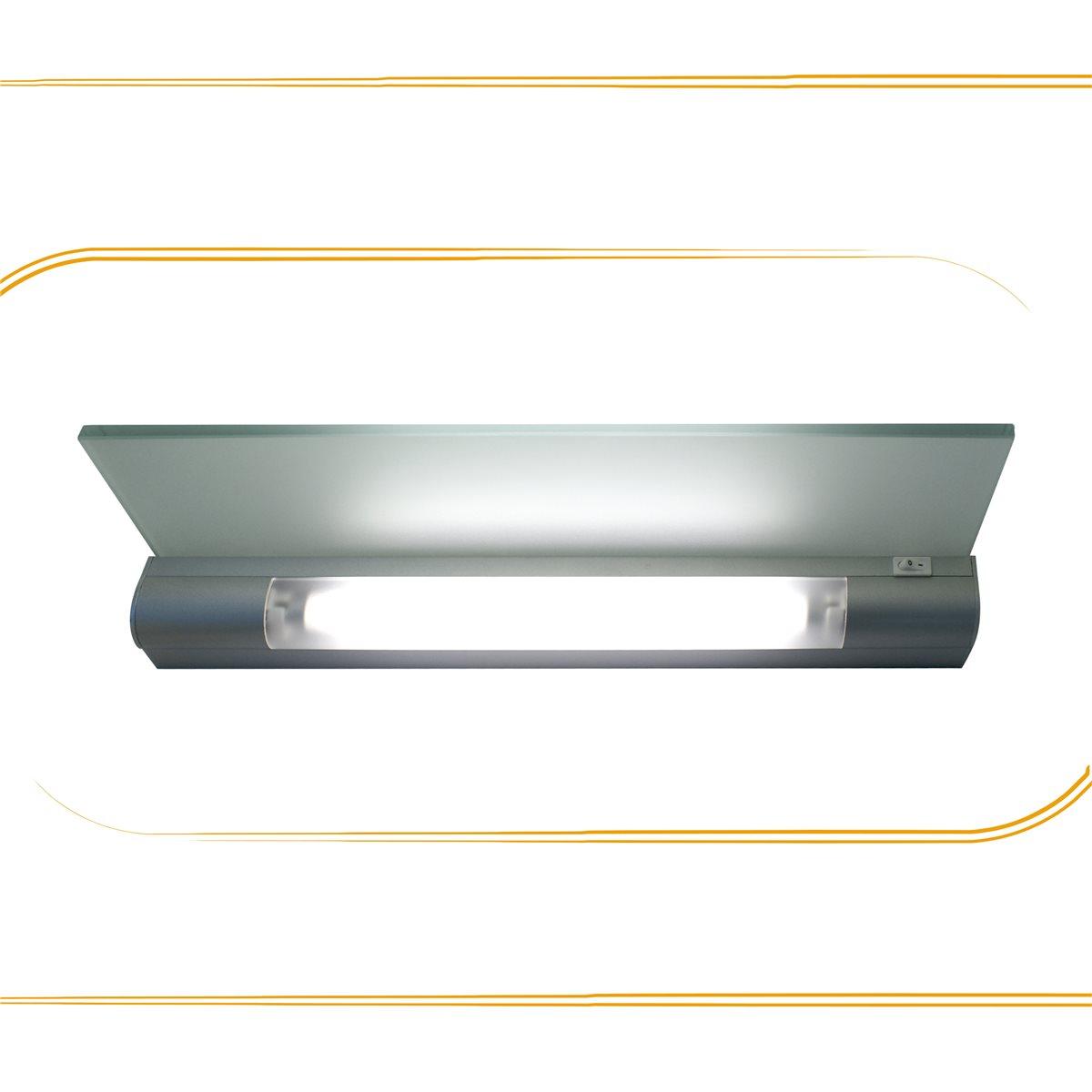 Lampenlux Wandlampe Puna Unterbauleuchte Glas Schalter Silber Badleuchte Bilderlampe T5 Wandleuchte