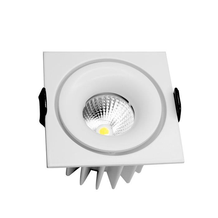 Lampenlux LED-Einbaustrahler Spot Sandokan eckig weiß 7.5x7.5 externer Trafo 230V WarmweißEinbauleuchte Einbaulampe Einbauspot Spot Strahler Punktstrahler Aluminium Downlight Down Deckeneinbaustrahler Deckeneinbauleuchte