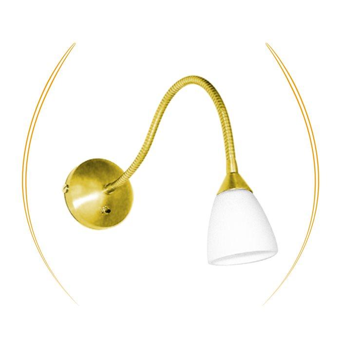 Lampenlux Wandlampe Wandleuchte Togo Leselampe Schalter Glas Weiß Schwanenhals Bettleuchte Bettlampe Gold glänzend
